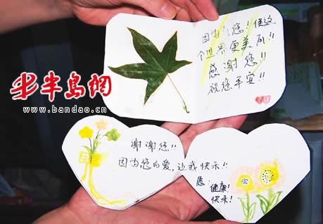 文字周围还精心贴上了树叶标本,粘贴画等装饰物.