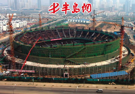 体育馆目前已完成主体混凝土结构